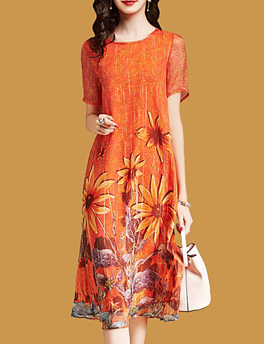abordables Robes Femme-Femme Bohème Sophistiqué Mi-long Courte Robe - Imprimé, Géométrique Orange M L XL Manches Courtes