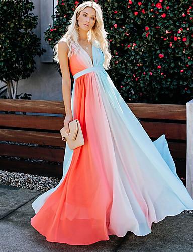 abordables Robes Femme-Femme Maxi Ample Balançoire Robe Teinture par Nouage A Bretelles Printemps Eté Automne Orange M L XL Sans Manches