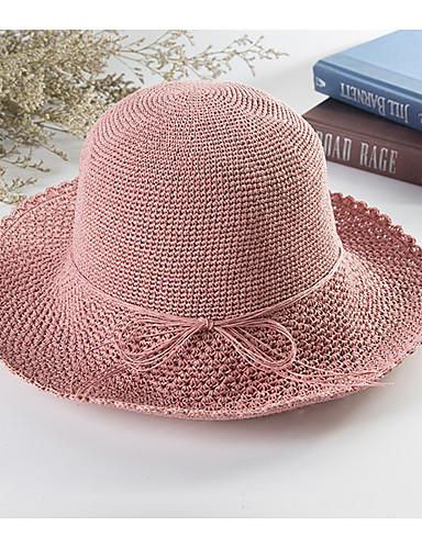 Kadın's Temel Hasır Hasır Şapka Solid Doğal Pembe Deve Kahverengi