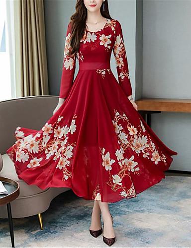 Kadın's Çan Elbise - Çiçekli Maksi