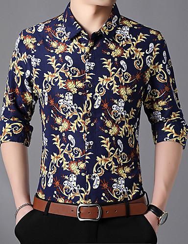 Erkek Gömlek Çiçekli Temel Koyu Mavi