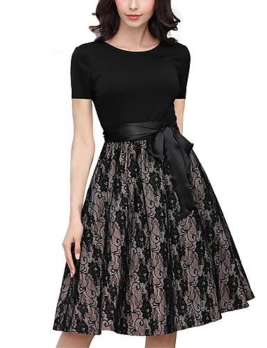 abordables Robes Femme-Femme Sophistiqué Elégant Mi-long Balançoire Robe - Dentelle Noeud Multirang, Géométrique Noir S M L Manches Courtes