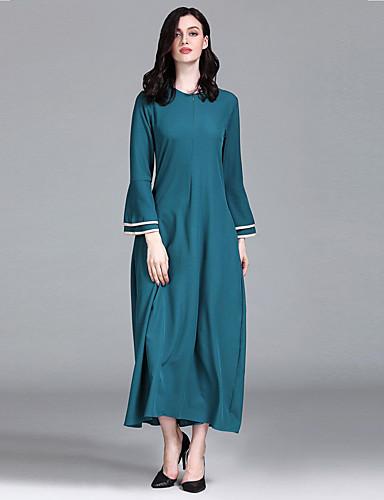 Kadın's Temel Abaya Kaftan Elbise - Zıt Renkli, Kırk Yama Maksi