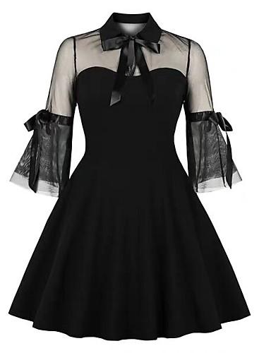 olcso Romantikus csipke-Női Elegáns Little Black Ruha - Csipke, Egyszínű Térd feletti