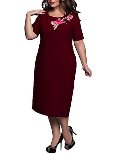 voordelige Grote maten jurken-Dames Grote maten Katoen Ruimvallend A-lijn Jurk Midi