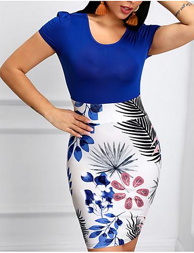 abordables Robes Femme-Femme Basique Au dessus du genou Moulante Robe - Imprimé, Fleur Bleu Orange Marine M L XL Manches Courtes