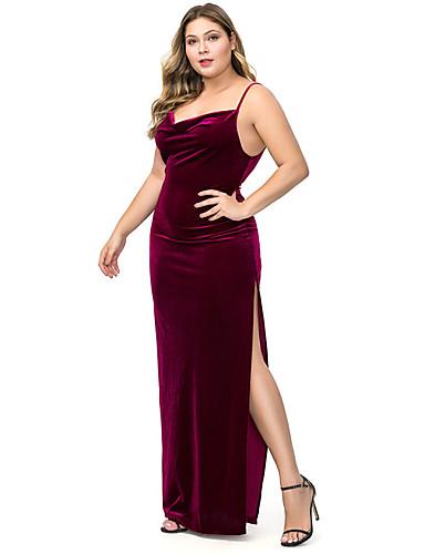 voordelige Grote maten jurken-Dames Standaard Schede Jurk - Effen, Blote rug Split Maxi