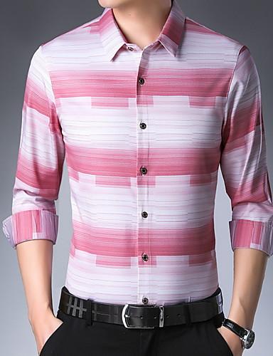 voordelige Herenoverhemden-Heren Overhemd Gestreept Zwart / Korte mouw