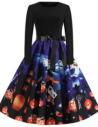 Damen Street Schick Elegant Swing Kleid - Druck, Abstrakt Knielang Weihnachtsmann