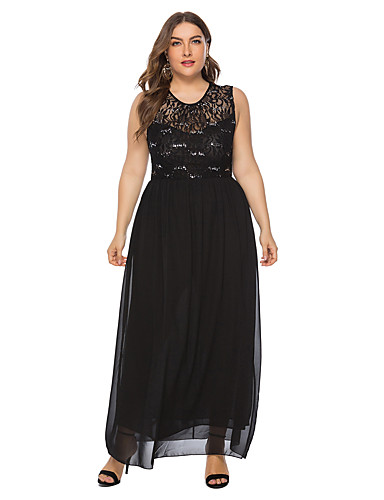 voordelige Grote maten jurken-Dames A-lijn Jurk - Effen, Pailletten Patchwork Maxi