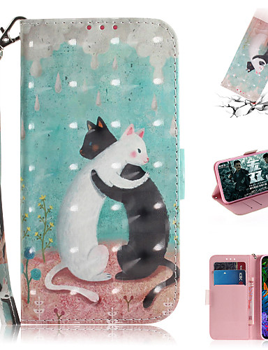 Case For LG LG V40 / LG G8 Wallet / Card Holder / with Stand Full Body Cases Animal / 3D Cartoon PU Leather