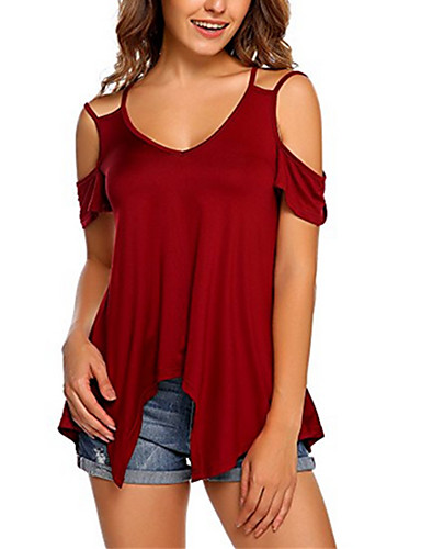 billige Dametopper-T-skjorte Dame - Ensfarget, Lapper Grunnleggende Navyblå US14 / UK18 / EU46