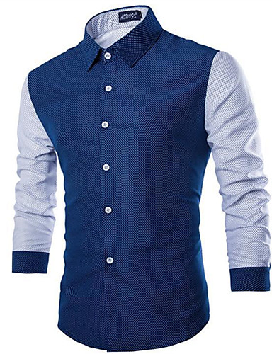 cheap Men's Shirts-Men's Daily Casual Basic / Street chic Shirt - Solid Colored / Polka Dot / Color Block Print White US36 / UK36 / EU44