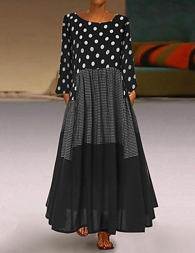 povoljno Nove haljine-Žene Starinski Swing kroj Haljina - Kolaž, Na točkice Maxi / Veći konfekcijski brojevi / Širok kroj