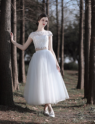 abordables robe mariage civil-Trapèze / Deux Pièces Bijoux Longueur Cheville Dentelle / Tulle Robes de mariée sur mesure avec Dentelle par LAN TING Express