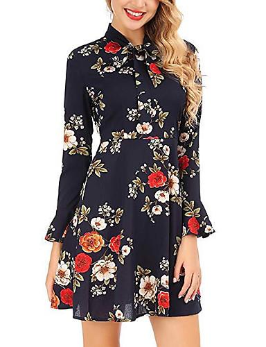 Kadın's Temel Kılıf Elbise - Çiçekli, Desen Diz üstü