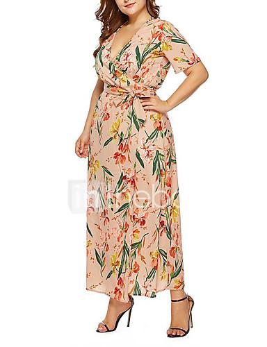 voordelige Grote maten jurken-Dames Boho Street chic Chiffon Jurk - Bloemen, Kant Veters Print Maxi