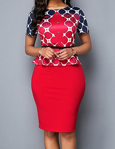 Kadın's Zarif Bandaj Elbise - Geometrik, Resim Diz-boyu / Büyük Bedenler
