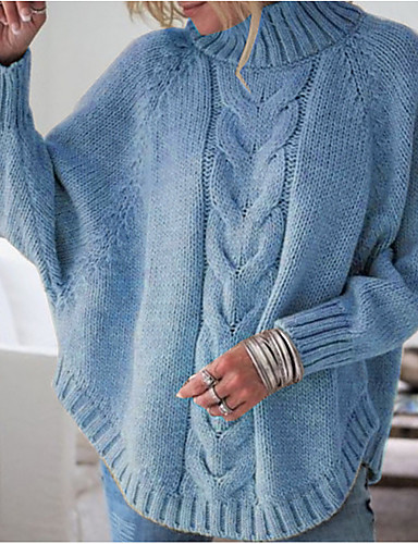billige Gensere til damer-Dame Ensfarget Langermet Pullover, Rullekrage Svart / Rosa / Gul S / M / L