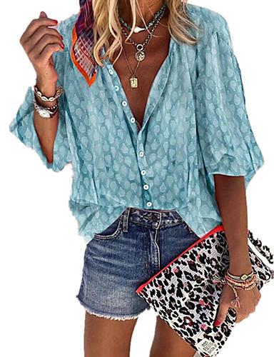 povoljno Ženske majice-Veći konfekcijski brojevi Majica Žene - Boho Kauzalni / Plus veličine Na točkice Kragna košulje Kolaž / Print Sive boje
