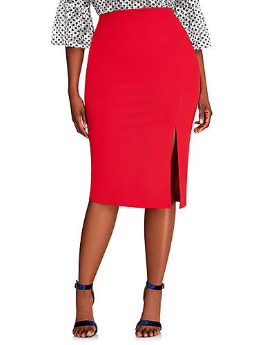 abordables Jupes-Femme Grandes Tailles Basique Chic de Rue Moulante Jupes - Couleur Pleine Fendu / Mosaïque Vin Bleu Rouge XL XXL XXL / Mince