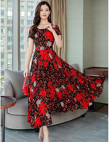 Damen A-Linie Kleid Blumen Midi 7554443 2019 - $12.86