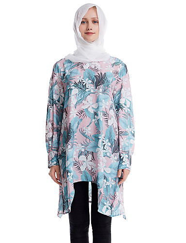 abordables Robes Femme-Femme Asymétrique Chemise Robe Fleur Rose Claire Jaune Vert M L XL Manches Longues
