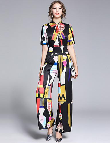 abordables Hauts pour Femmes-Femme Basique Blanche Noir Combinaison-pantalon, Abstrait Noeud M L XL