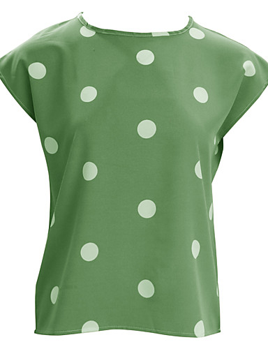 abordables Hauts pour Femme-Tee-shirt Femme, Points Polka Imprimé Basique Vert