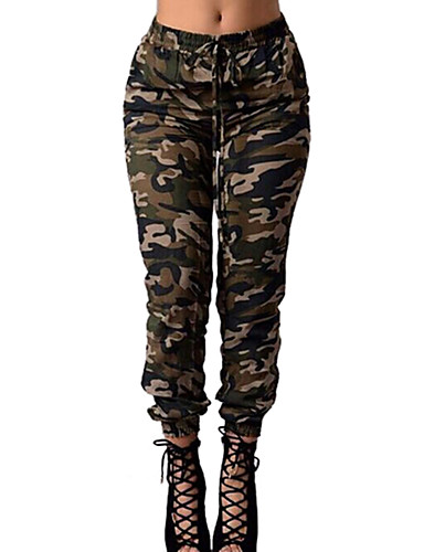 cheap Women's Pants-Women's Military Daily Skinny Chinos Pants - Camo / Camouflage Patchwork / Print High Waist Army Green XL XXL XXXL