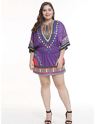 voordelige Grote maten jurken-Dames Recht Jurk - Tribal Tot de knie