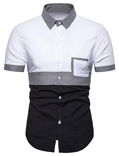 Erkek Gömlek Zıt Renkli / Kareli Temel Büyük Bedenler Siyah ve Beyaz / Siyah gri Beyaz / Kısa Kollu