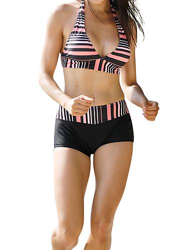 voordelige Nieuwe collectie-Dames Zwart Tankini Zwemkleding - Gestreept M L XL Zwart