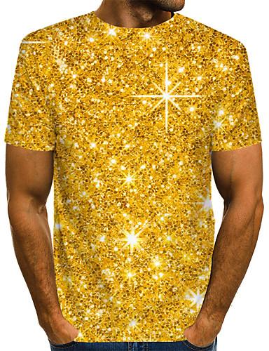 voordelige Heren T-shirts & tanktops-Heren Street chic / overdreven Print EU / VS maat - T-shirt Club Kleurenblok / 3D / Grafisch Ronde hals Goud / Korte mouw