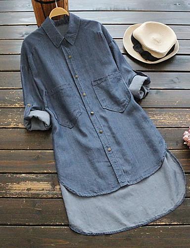 billige Topper til damer-Bomull Løstsittende Skjortekrage Store størrelser Skjorte Dame - Ensfarget, Denim Grunnleggende / Chinoiserie Blå