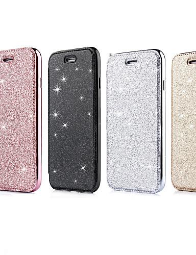 Apple iphone için xr / iphone xs max glitter parlaklık / çevir / kaplama tam vücut kılıfları glitter parlaklık yumuşak tpu / pu deri iphone 6 / iphone 6 artı / 7 / 7pius / 8 / 8pius / x / xs