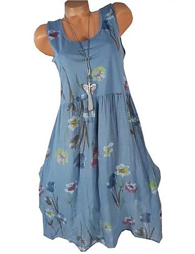 Kadın's Temel Kılıf Elbise - Geometrik, Desen Diz-boyu