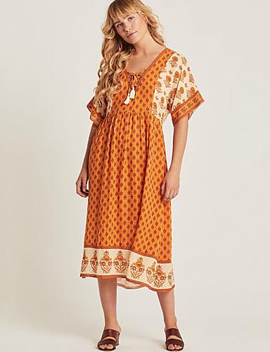 Kadın's Temel Kombinezon Elbise - Geometrik, Desen Midi