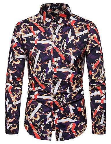 Erkek Gömlek Kırk Yama, Geometrik Temel AB / ABD Beden Sihirli Küpler Gökküşağı / Uzun Kollu
