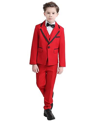 Siyah / Kırmızı Şarap Polyester / Pamuk Karışımı Yüzük Taşıyıcısı Takımı - 1set Kapsar Palto / Yelek / Gömlek