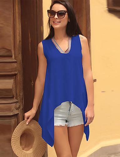 billige Dametopper-Løstsittende V-hals T-skjorte Dame - Ensfarget, Racerrygg Grunnleggende Svart