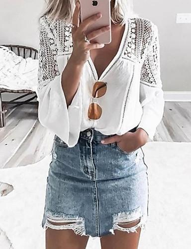 Kadın's Gömlek Desen, Solid Beyaz