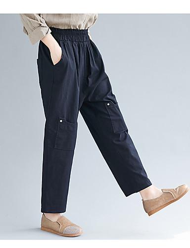 abordables Pantalons Femme-Femme Chinoiserie Sarouel Pantalon - Couleur Pleine Mosaïque Noir Beige M L XL