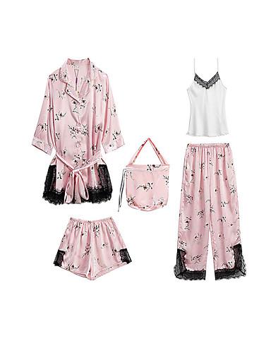Gömlek Yaka Takımlar Pijamalar Çiçekli Kadın's