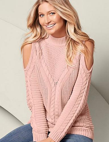 povoljno Ženske majice-Žene Jednobojni Dugih rukava Pullover, Uski okrugli izrez Crn / Obala / Blushing Pink S / M / L