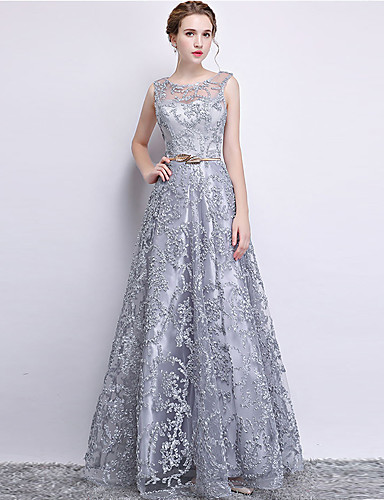 cheap Pre Sale-A-Line Jewel Neck Floor Length Lace Dress with Appliques by LAN TING Express