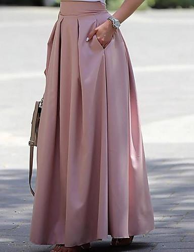 abordables Jupes-Femme Basique Coton Maxi Balançoire Jupes - Couleur Pleine Rose Claire S M L