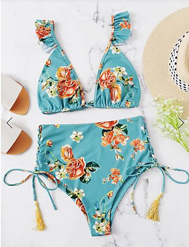 billige Dametopper-Dame Grunnleggende Bohem Lyseblå Trekant Cheeky Bikini Badetøy - Blomstret Drapering S M L Lyseblå