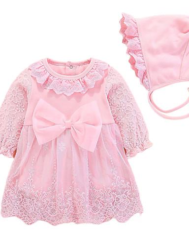 Toddler Genç Kız Temel Solid Kısa Kollu Diz-boyu Elbise Doğal Pembe
