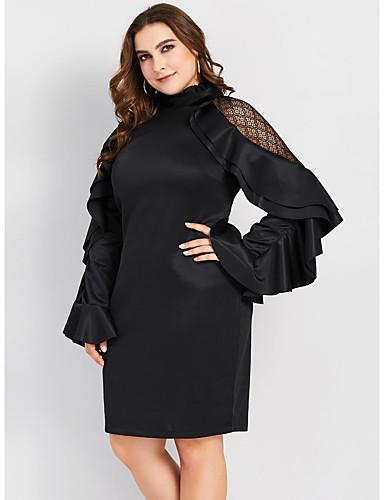 Kadın's Bandaj Elbise - Solid Diz-boyu